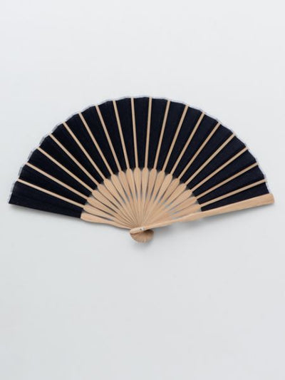Indigo Komon Folding Fan with Bag for Men -Others-Ametsuchi