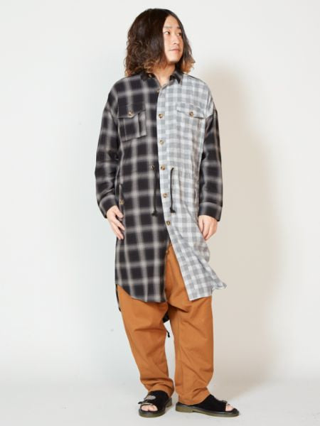 Plaid Patchworked Long Shirt-Shirts-Ametsuchi