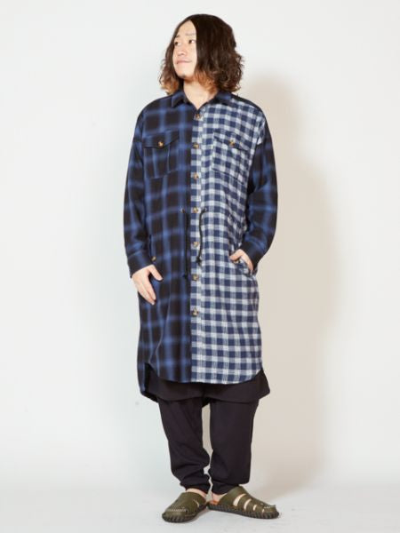 Plaid Patchworked Long Shirt