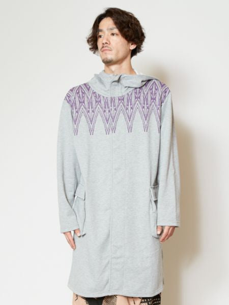 Geometrical Pattern Printed Hoodie Long Jacket-Tops-Ametsuchi