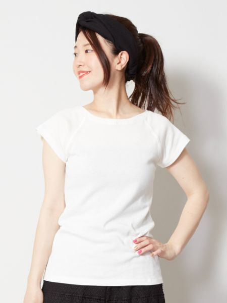 French Sleeve Cotton Jersey Top-Ametsuchi