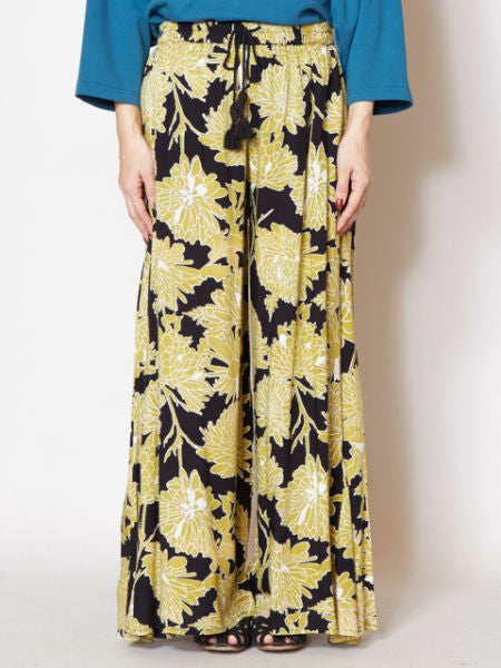 Lotus Pattern Print Wide Leg Pants