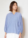 Punching Renda & Sequin Embroidery Tops -Shirts & Blouses-Ametsuchi
