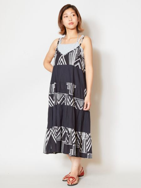 African Geometric Pattern Camisole Dress-Ametsuchi