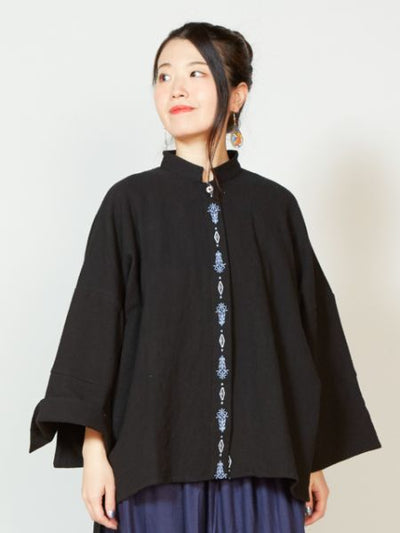 Embroidered High Low Hem Dress-Cardigans & Outerwear-Ametsuchi