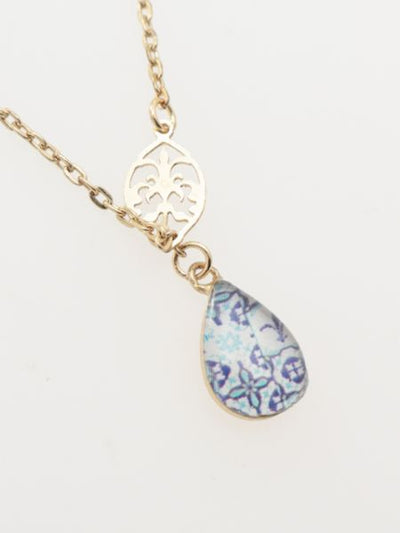 Portuguese tile Azulejo Inspired Necklace -Necklaces-Ametsuchi