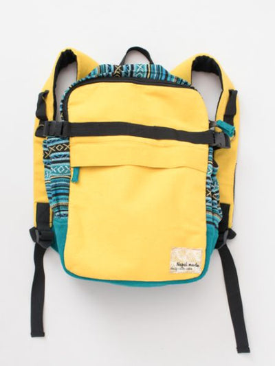 Nepali Woven Cotton Patchworked Backpack-Bags & Purses-Ametsuchi