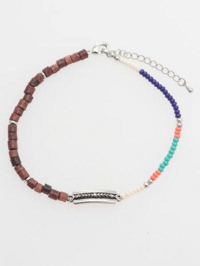 Wood & colorful beadsMEN'S Anklets-Ametsuchi