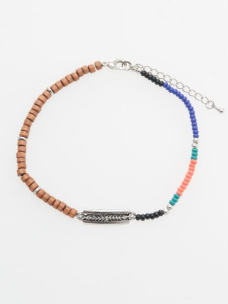 Wood & colorful beadsMEN'S Anklet