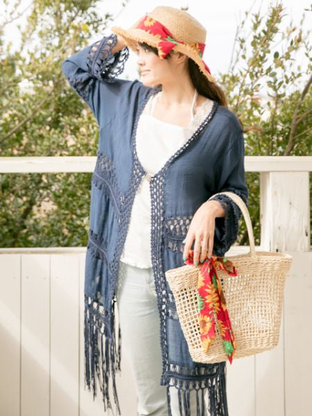 Simple Fringe Long Cardigan-Cardigans & Outerwear-Ametsuchi