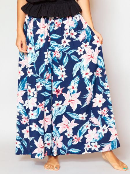 Tropical Print Wide Pants-Ametsuchi