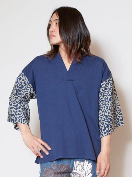 Japan Blue KIMONO Men's Top-Tops-Ametsuchi