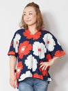 Hollyhock Floral Top-Tops-Ametsuchi