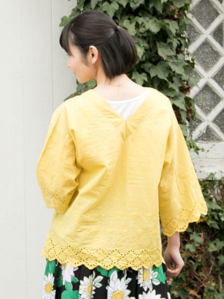 Cutwork Lace Hem V neck Top