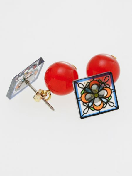 Stained Glass Inspired Flower Stud Earrings