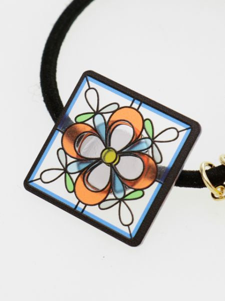 Stained Glass Inspired Flower Hair Tie-Ametsuchi