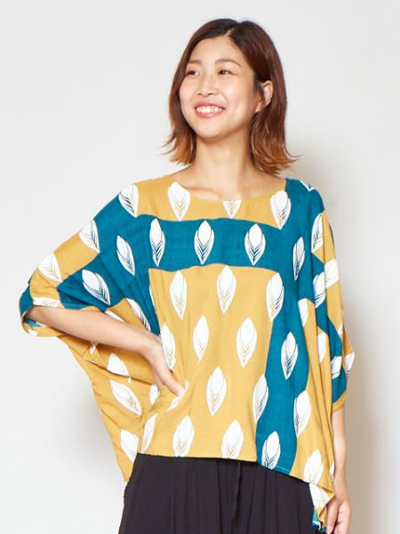 Peacock Feather Printed Top-Tops-Ametsuchi