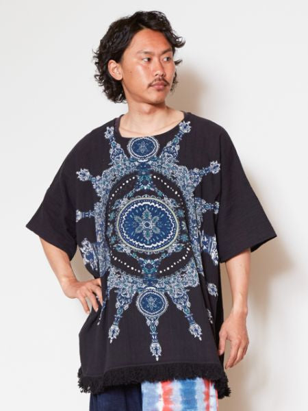 Bold Mandala Print Cotton Top-Tops-Ametsuchi