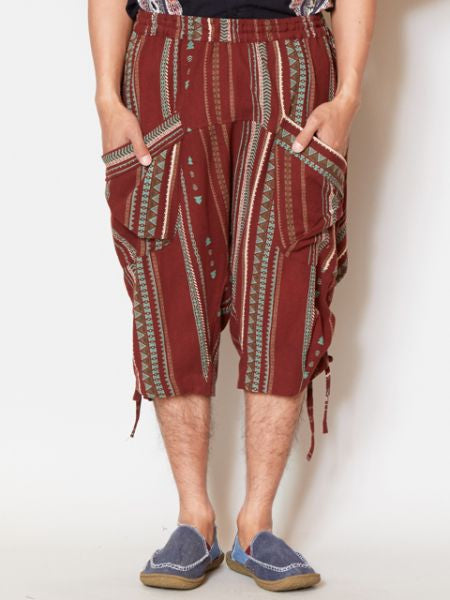 Geometric Pattern Men's Boho Shorts-Pants & Shorts-Ametsuchi