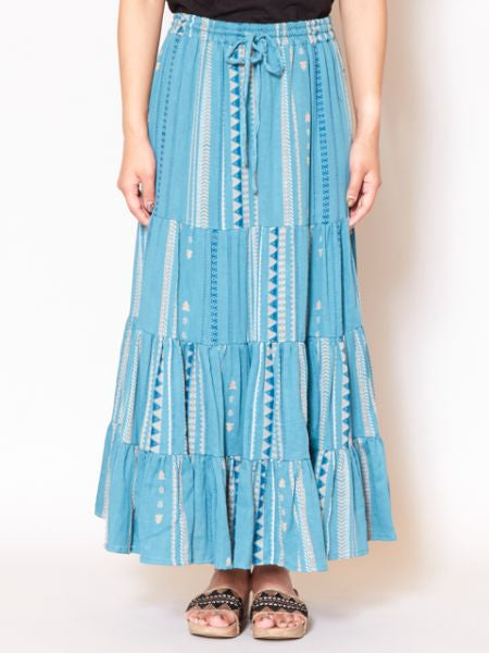 African Fabric Pattern Tiered Maxi Skirt-Skirts-Ametsuchi
