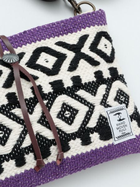Handwoven Cotton Rug African Geometric Pattern Shoulder Bag