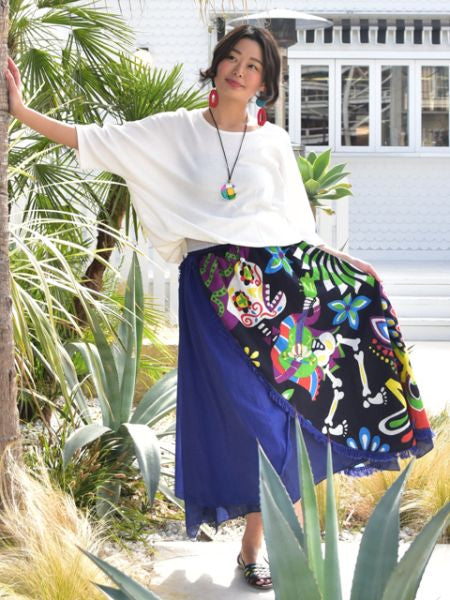 Calavera Pattern Mexican Inspired Skirt-Skirts-Ametsuchi
