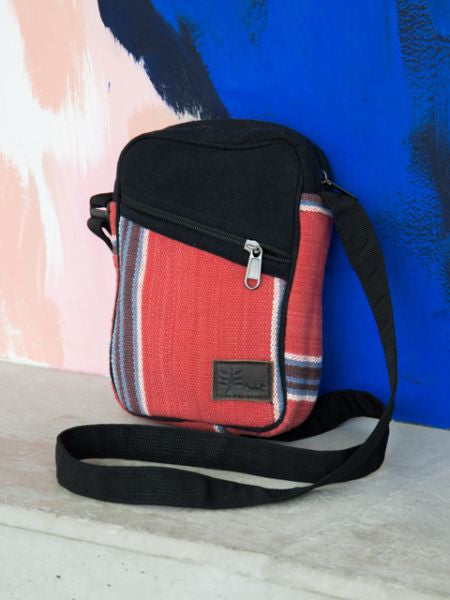 Hand Woven Stripe Pattern Shoulder Bag