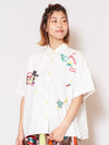 Embroidered Calavera Collar Shirt-Ametsuchi