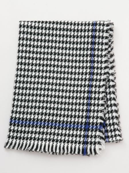 Houndstooth Check Shawl -Scarves-Ametsuchi