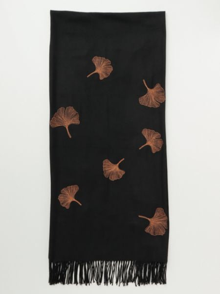 Ginkgo Embroidered Scarf -Scarves-Ametsuchi