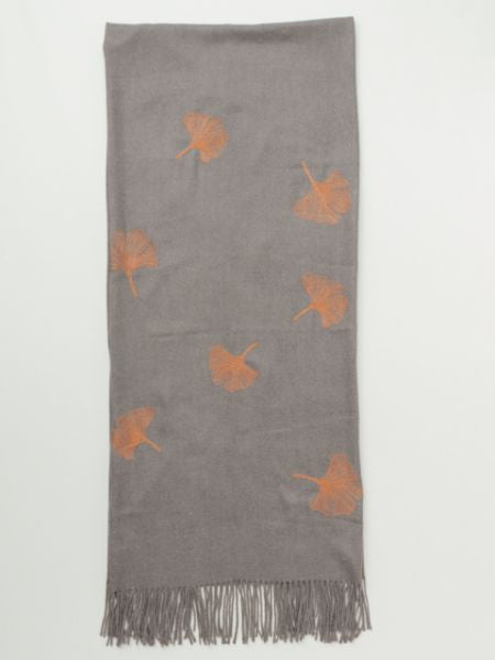 Ginkgo Embroidered Scarf