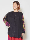Flower Printed Sleeve Blouse-Ametsuchi
