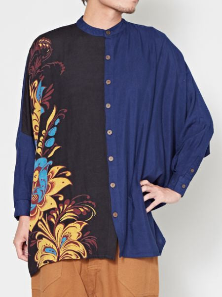 Floral Printed Band Collar Asymmetrical Shirt-Ametsuchi