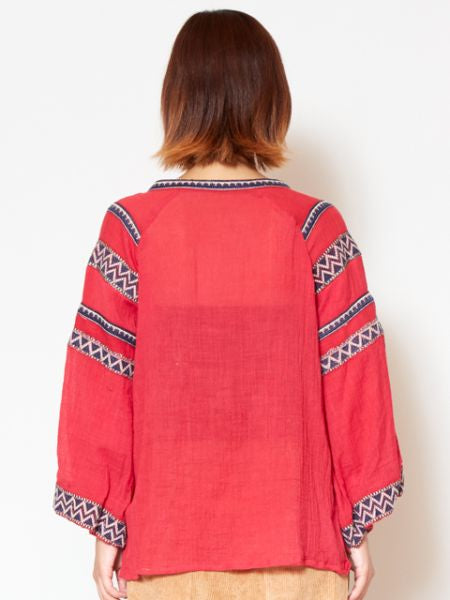 Folklore Embroidered Blouse with Wide Sleeve