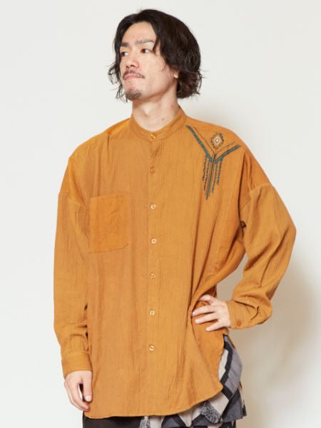 Band Collar Men's Shirt with Navajo Embroidery-Shirts-Ametsuchi