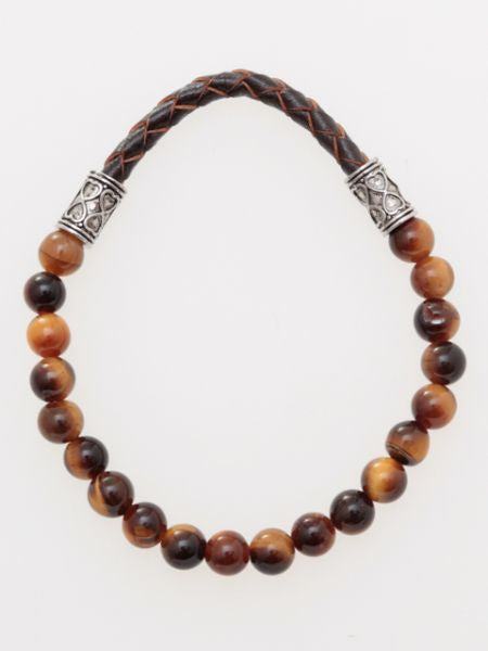Leather & Beaded Stone Bracelet-Ametsuchi