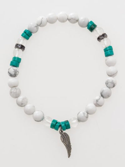 Feather & Beaded Stone Bracelet-Bangles & Bracelets-Ametsuchi