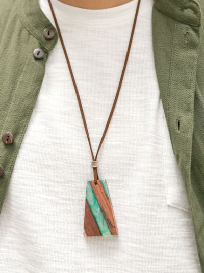 Wooden Charm Necklace-Necklaces-Ametsuchi