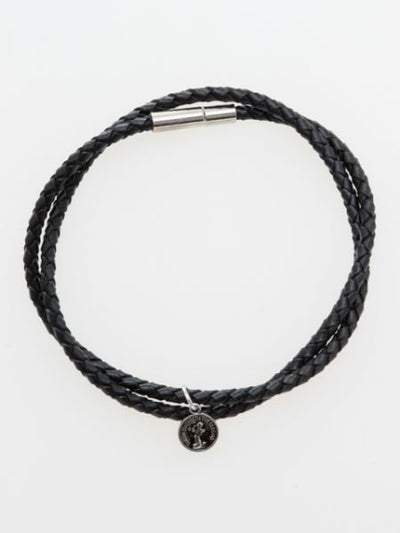 Coin Charm Braided Cord Bracelet-Ametsuchi