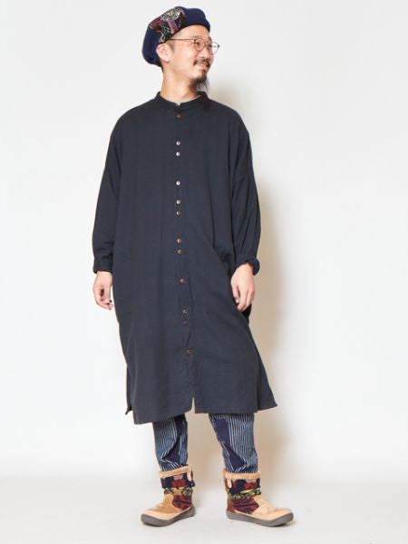 Nepali Cotton Band Collar Long Shirts-Shirts-Ametsuchi
