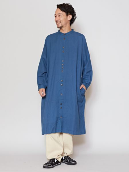 Nepali Cotton Band Collar Long Shirt