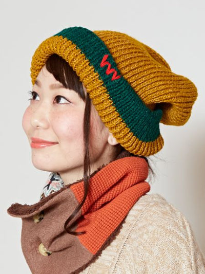 Nepal Hand Made Bi Color Knitted Beanie-Caps & Hats-Ametsuchi