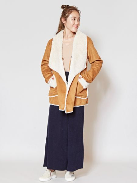 Embroidered Back Faux Mouton Jacket-Ametsuchi