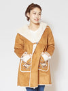 Embroidered Pocket Faux Mouton Jacket-Cardigans & Outerwear-Ametsuchi