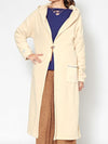 Fleece Hoodie Long Cardigan with Wave Embroidery Sleeve-Ametsuchi