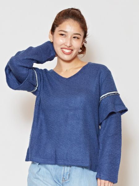Knit Sew Top with Frill Sleeve