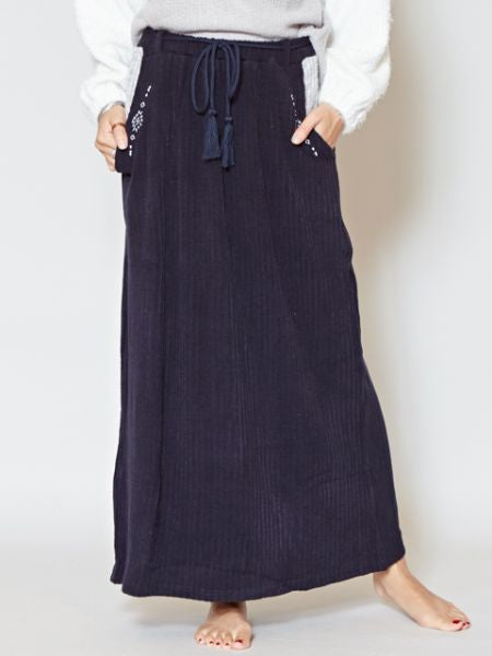 Rib Fabric Maxi Skirt with Navajo Embroidery