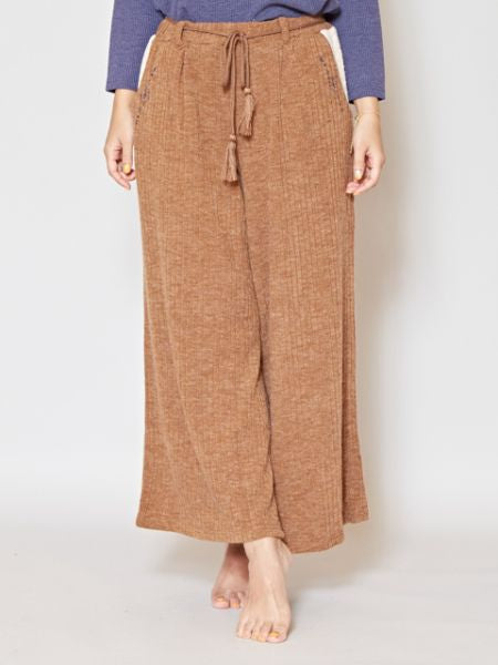 Rib Fabric Wide Leg Pants with Navajo Embroidery