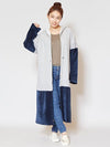Bi Color Patchwork Hoodie Long Cardigan-Cardigans & Outerwear-Ametsuchi