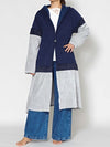 Bi Color Patchwork Hoodie Long Cardigan-Ametsuchi